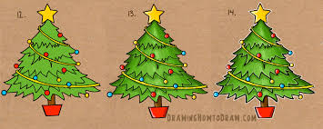 how to draw a christmas tree with simple step by step tutorial