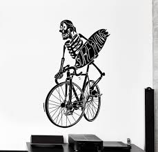 Surf Home Decor by Vinyl Wall Decal Surf Surfing Skeleton Bike Bycicle Funny Big Home