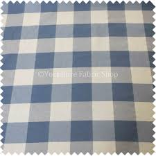 British Upholstery Fabric Malaga Checked Pattern White Blue Colour Jacquard Woven Fabric