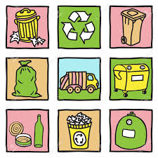 set of recycling icons hand drawn illustration royalty free