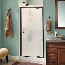 home depot glass shower doors delta lyndall 36 in x 66 in semi frameless pivot shower door in