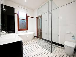 Bathroom Design With Freestanding Bath Using Frameless Glass - Glass bathroom designs