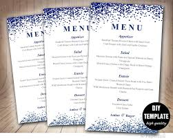 wedding menu card template blue wedding menu template instant