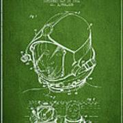Diving Helmet Print Diver Poster - helmet for divers patent from 1976 green duvet cover for sale by