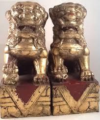 foo lion statue foo dogs carved wood fleetstreetshop
