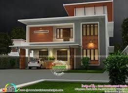 Home Design For 2200 Sq Ft 2200 Sq Ft Fusion Flat Roof House Plan Kerala Home Design