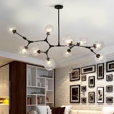 lustre pour bureau noir or boule de verre ramification goutte suspendue lumière