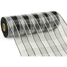 white deco mesh 10 poly deco mesh metallic wide foil black white plaid re1351x7