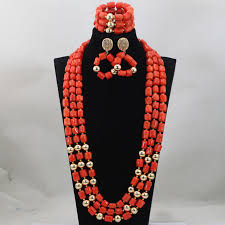 indian beads necklace images Fashion red long design african coral beads jewelry sets indian jpg