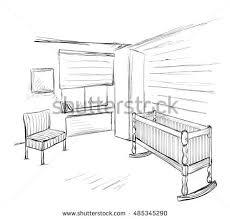 hand drawn children room furniture sketch stock vector 626753342