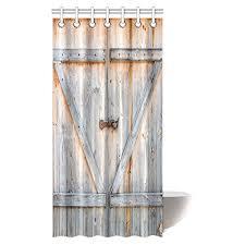 Charcoal Shower Curtain Interestprint Farmhouse Wooden Door Shower Curtain Brown