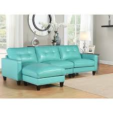 Turquoise Sectional Sofa Abbyson Carmelo Turquoise Top Grain Leather Reversible Sectional