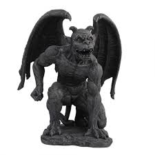 gargoyle 24 inch high statue for home or garden stone finish
