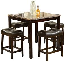 high quality dining room furniture black polished oak wood dining table with cream marble countertop