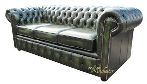 Chesterfield Sofa Antique Chesterfield London 3 Seater Antique Green Leather Sofa Settee Offer
