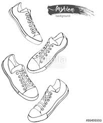 set of sport shoes or sneakers icons in different views sketch