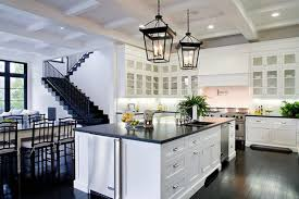 Dark Hardwood Floors Kitchen White Cabinets Wood Farmhouse Sink - Modern kitchen white cabinets