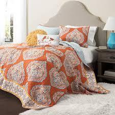 lush decor 5 harley quilt set king tangerine