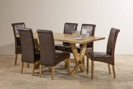 Solid Oak Dining Room Sets Crossley Solid Oak Dining Set In Oak Table 6 Leather Chairs