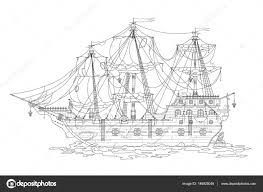 hand drawing cartoon pirate ship coloring coloring book for