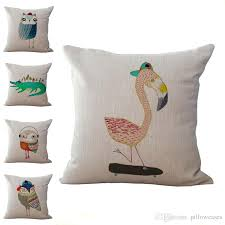 cartoon crocodile owl flamingo throw pillow cases cushion cover