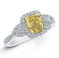 fancy yellow diamond engagement rings 18k white and yellow gold fancy yellow cushion dia