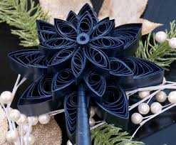 quilled christmas tree topper shimmery metallic blue retro