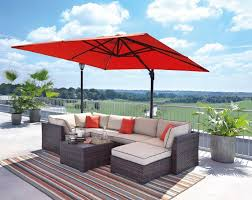 Patio Sectional Sofa Renway Beige Brown Outdoor Sectional Sofa With Table Ottoman Umbrella