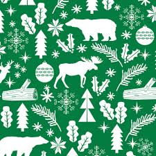 woodland green winter fabric reindeer