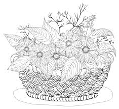Coloriage dun panier de fleurs automnales