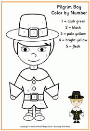 pilgrim boy colour number holiday thanksgiving fall