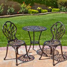 small patio table with two chairs best choice products cast aluminum patio bistro furniture set in