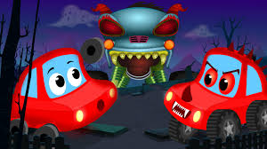 kids monster truck video little red car rhymes little red car and the haunted house