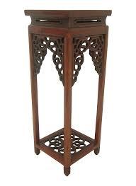 ornate vintage chinese rosewood display stand pedestal columns