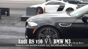 bmw vs audi race audi r8 v10 vs bmw m5 drag race