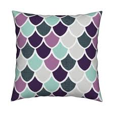 Mermaid Decorations For Home Purple Aqua Mermaid Scales Square Pillow By Ivieclothco