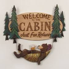 bear welcome indoor outdoor wall art sign