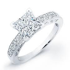 princess cut engagement ring vintage chanel set side stones princess cut engagement ring