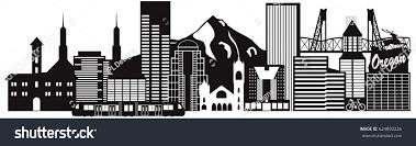 Portland City Flag Portland Oregon Outline Silhouette City Skyline Stock Illustration