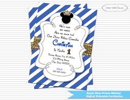 prince mickey mouse birthday invitation royal blue u0026 gold