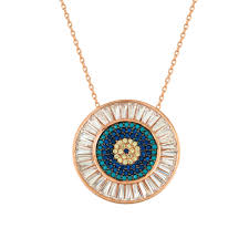 round turquoise necklace images Silver baguette nano turquoise round evil eye necklace wholesale jpg