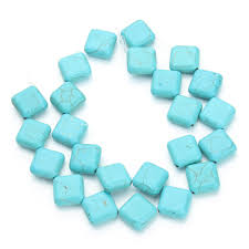 natural turquoise stone 22pcs pack 1 4cm 1 4cm blue square created stone jewelry making