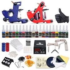 complete tattoo kit 2 machine gun 20 color inks power supply diy