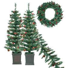 set of 4 pre lit tree garland wreath
