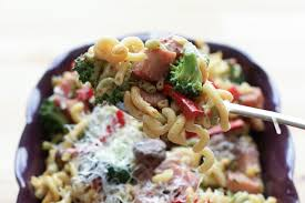 Kosher By Design Kids In The Kitchen Ham And Vegetable Pasta Skillet With A Light Cream Sauce