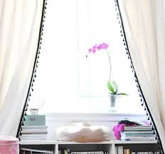 White Curtains With Pom Poms Decorating The Cuban In My Coffee Diy Pom Pom Tassel Curtains Baby