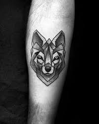 small coolest mens dotwork geometric wolf inner forearm for