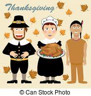eps vector of thanksgiving pilgrims and indian