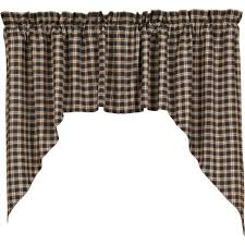 Primitive Swag Curtains Bingham Plaid Lined Swag Curtains Primitive Quilt Shop