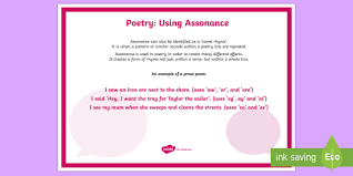 poetry using assonance a4 display poster literacy